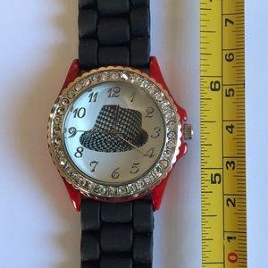 Geneva Watch Black/Red Houndstooth hat.